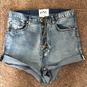 One Teaspoon High Waist Denim Shorts